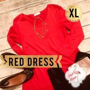 Dresses & Skirts - Red Dress Cotton Long Sleeves XL Short 👗